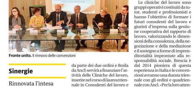 Rinnovo della convenzione tra Consulenti del Lavoro e Università.